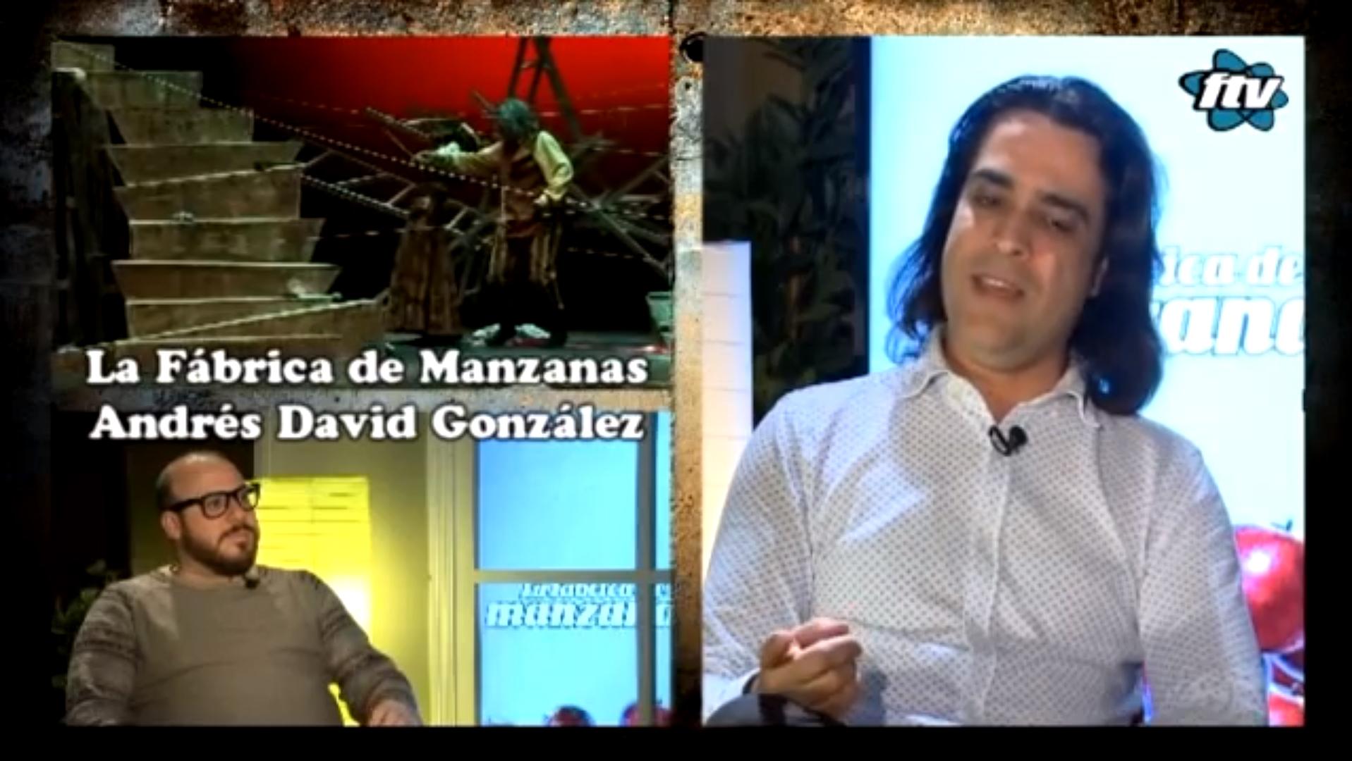 Entrevista de televisión al director escénico Andrés David González Muñoz sobre la obra de teatro SISIFO. Programa de Fuengirola Tv, la Fabrica de manzanas presentado por Enrique Pedraza.